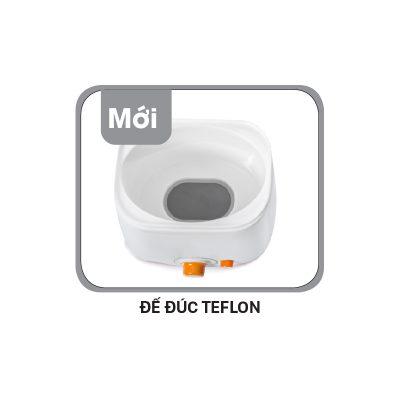 Đế tiếp xúc được tráng một lớp Teflon giúp giảm thiểu nguy cơ chập điện